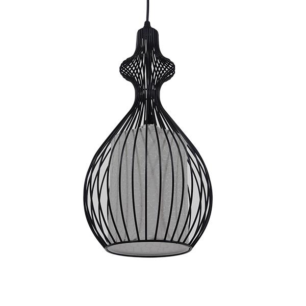 Μοντέρνο Κρεμαστό Φωτιστικό Οροφής Μονόφωτο Μαύρο Μεταλλικό Πλέγμα με Υφασμάτινο Εσωτερικό Καπέλο Φ21 GloboStar THYDA 01197