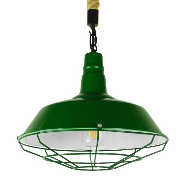 Vintage Industrial Κρεμαστό Φωτιστικό Οροφής Μονόφωτο Πράσινο Λευκό Μεταλλικό Καμπάνα Πλέγμα με Μπεζ Σχοινί Φ36 GloboStar ELEDA 01408