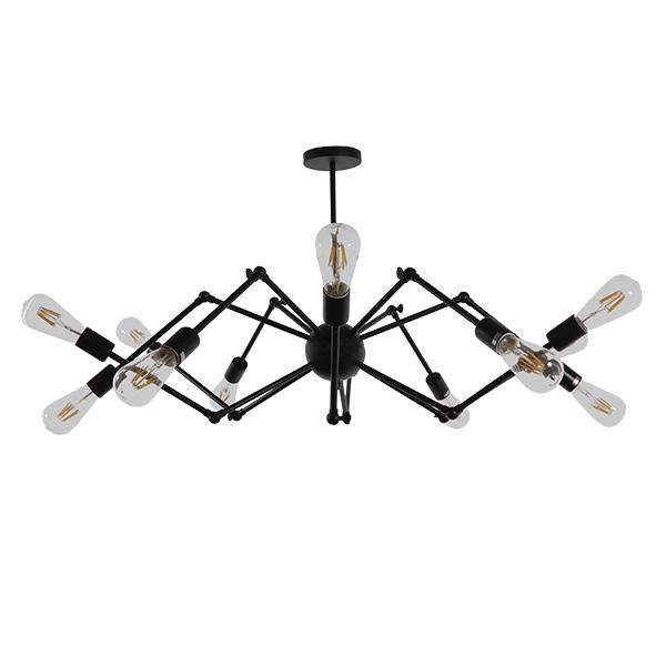 Vintage Industrial Φωτιστικό Οροφής Πολύφωτο Μαύρο Μεταλλικό Φ100 GloboStar SPIDER 01012