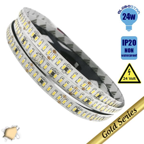 Ταινία LED Λευκή Professional Series 5m 24W/m 24V 240LED/m 3014 SMD 3200lm/m 120° IP20 Θερμό Λευκό 3000k GloboStar 63021