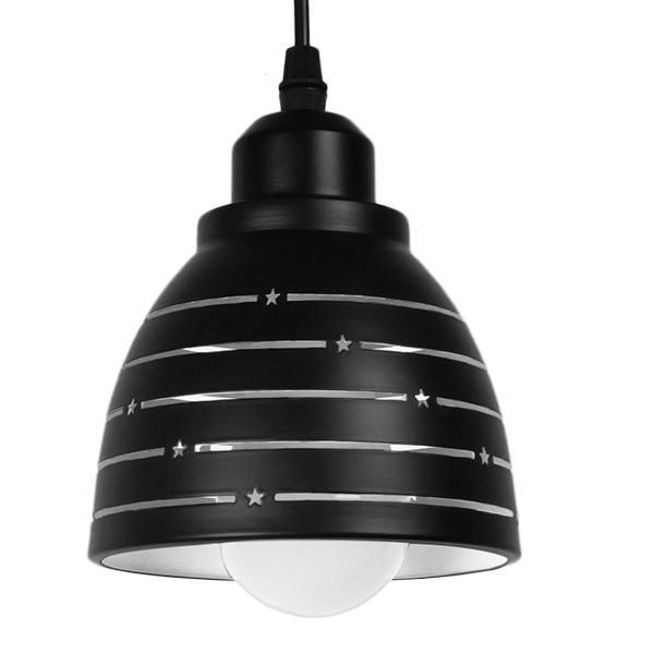 Μοντέρνο Κρεμαστό Φωτιστικό Οροφής Μονόφωτο Μεταλλικό Μαύρο Λευκό Καμπάνα Φ13 GloboStar LINE STARS 01483