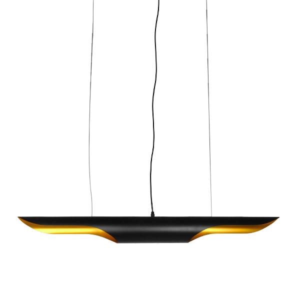 Μοντέρνο Κρεμαστό Φωτιστικό Οροφής 100cm Δίφωτο Μαύρο Χρυσό Μεταλλικό GloboStar NEBULA 01473
