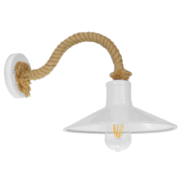 Vintage Φωτιστικό Τοίχου Απλίκα Μονόφωτο Λευκό Μεταλλικό Καμπάνα με Μπεζ Σχοινί Φ27 GloboStar VINSA 01130