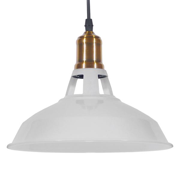 Vintage Industrial Κρεμαστό Φωτιστικό Οροφής Μονόφωτο Λευκό Μεταλλικό Καμπάνα Φ28 GloboStar ANER WHITE 01072