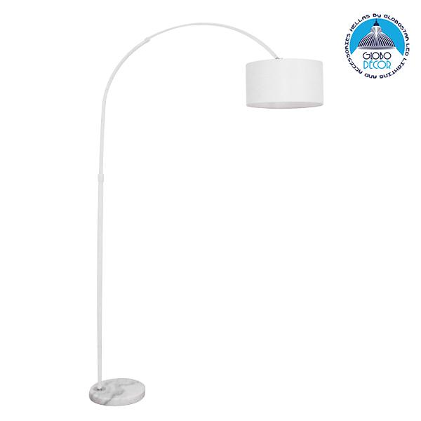 Μοντέρνο Φωτιστικό Δαπέδου Μονόφωτο Μεταλλικό Λευκό με Καπέλο Φ34 GloboStar IMPERIAL WHITE 01588