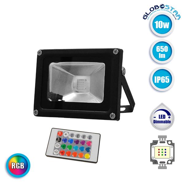 Προβολέας LED 10 Watt  230 Volt RGB με Ασύρματο Χειριστήριο GloboStar 62001