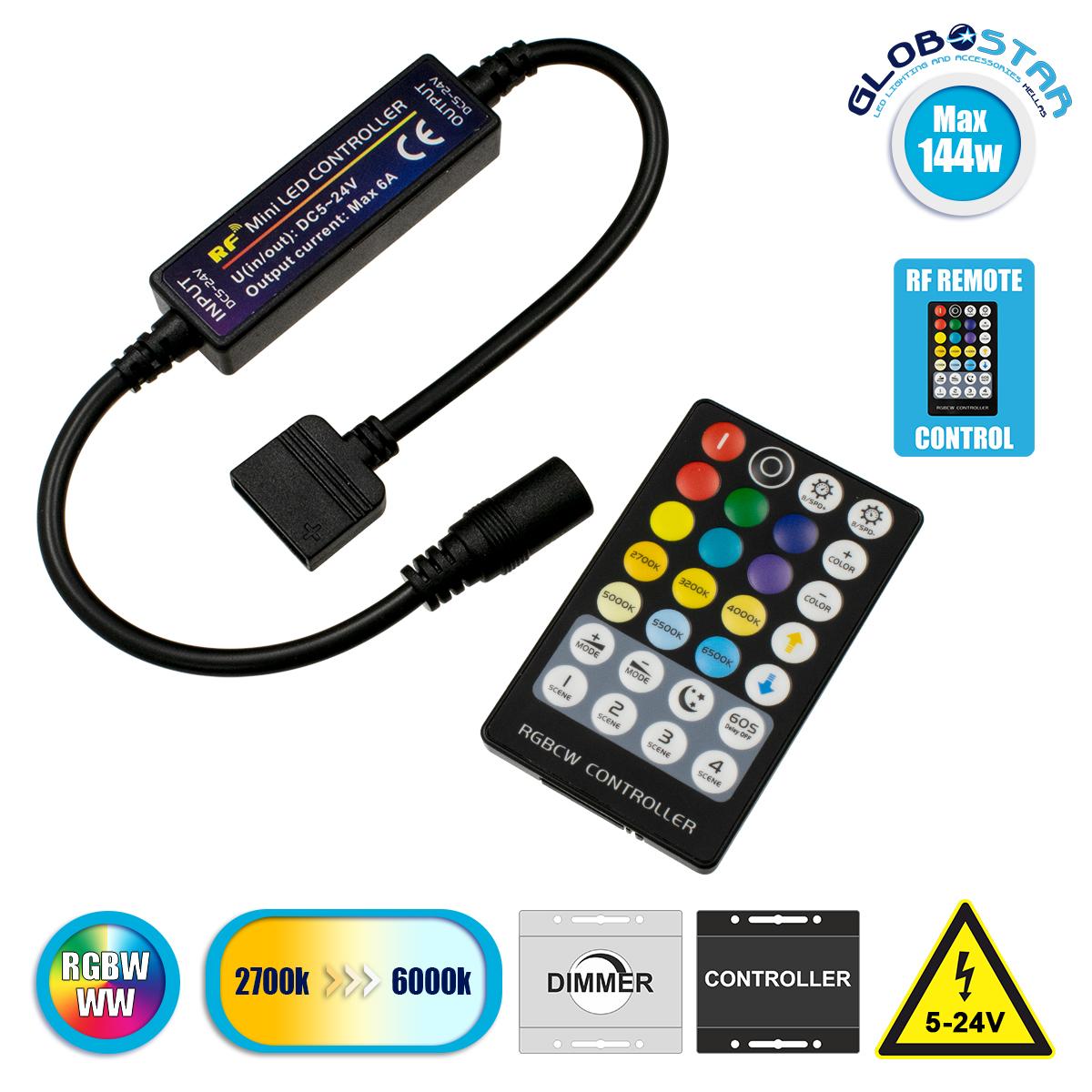 GloboStar® 73427 Ασύρματος LED RGBW + WW Controller με Χειριστήριο RF 2.4Ghz DC 5-24V Max 144W