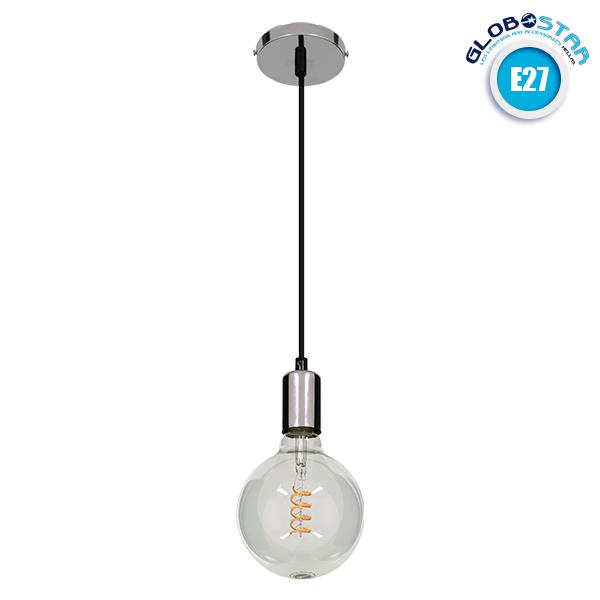 GloboStar® LUMI CHROME 99423 Μοντέρνο Μεταλλικό Κρεμαστό Φωτιστικό Οροφής Ανάρτηση με Ντουί E27 Μονόφωτο Χρώμιο Φ4 x Y118cm
