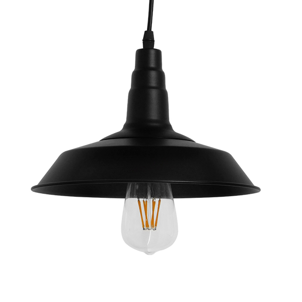 Vintage Industrial Κρεμαστό Φωτιστικό Οροφής Μονόφωτο Μαύρο Μεταλλικό Καμπάνα Φ26 GloboStar RAY BLACK 01050