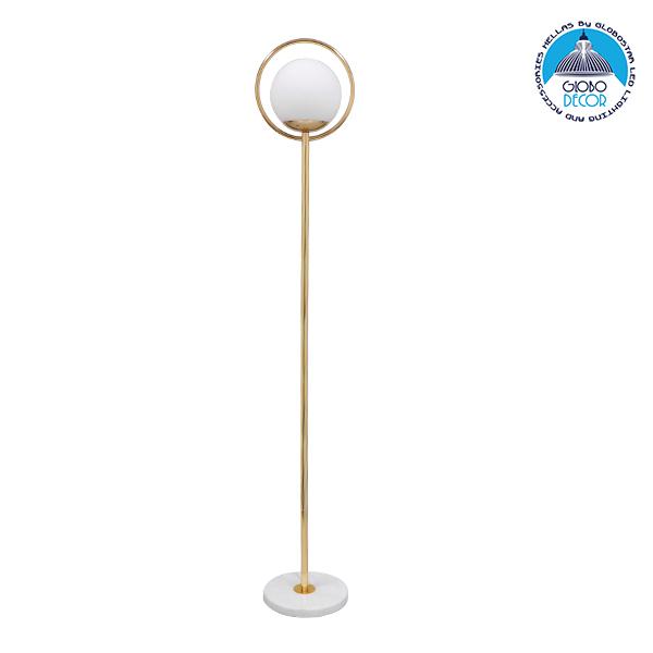Μοντέρνο Φωτιστικό Δαπέδου Μονόφωτο Μεταλλικό Χρυσό με Milky Γυαλί Φ25 GloboStar VERSAILLES GOLD 150CM 01541