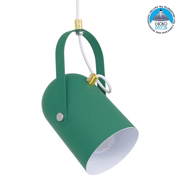 Μοντέρνο Κρεμαστό Φωτιστικό Οροφής Μονόφωτο Σκούρο Πράσινο Ματ με Χρυσές Λεπτομέρειες Μεταλλικό Φ12cm GloboStar HAZEL DARK GREEN 00928