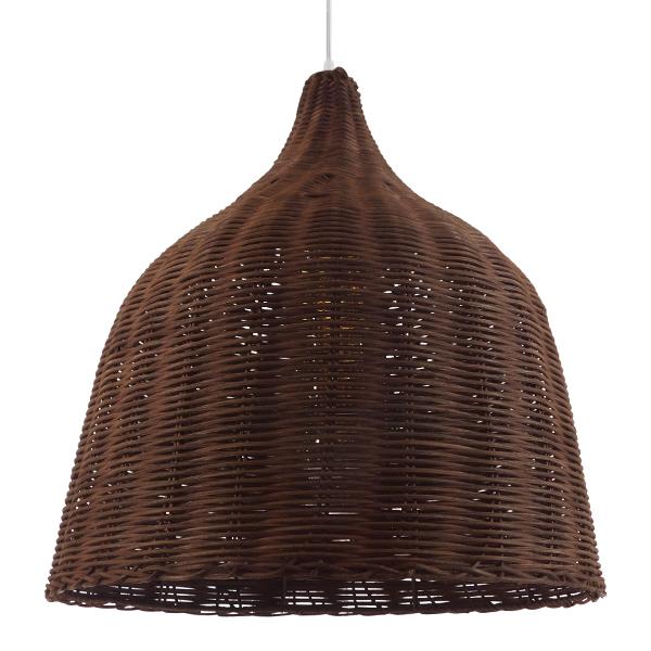 Vintage Κρεμαστό Φωτιστικό Οροφής Μονόφωτο Καφέ Σκούρο Ξύλινο Ψάθινο Rattan Φ45 GloboStar WABI 01368
