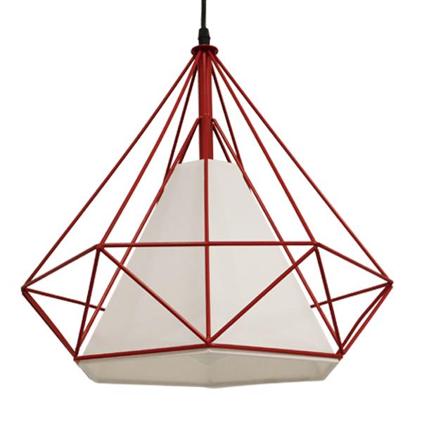 Μοντέρνο Industrial Κρεμαστό Φωτιστικό Οροφής Μονόφωτο Κόκκινο με Άσπρο Ύφασμα Μεταλλικό Πλέγμα Φ38 GloboStar KAIRI RED 01620