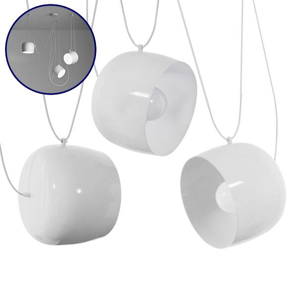 SET 3 Μοντέρνα Κρεμαστά Φωτιστικά Οροφής Μονόφωτα Λευκά Μεταλλικά Καμπάνα Φ25 GloboStar BOLLE 01376