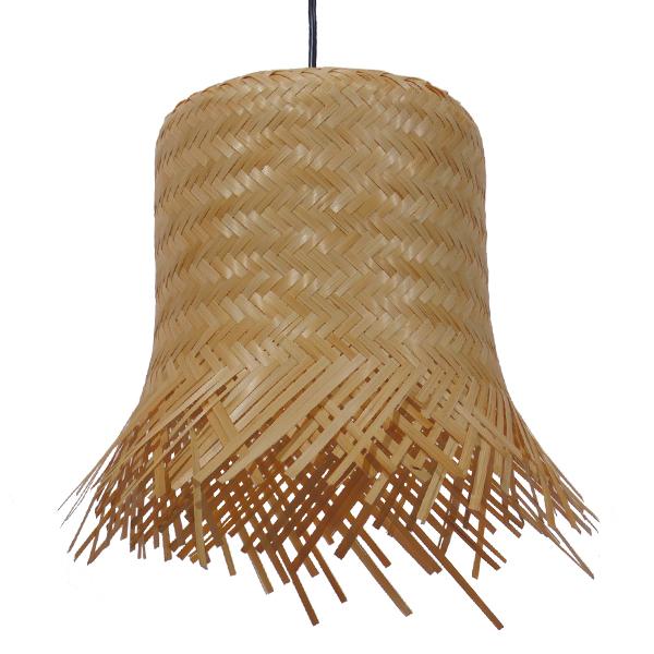 Vintage Κρεμαστό Φωτιστικό Οροφής Μονόφωτο Μπέζ Ξύλινο Ψάθινο Rattan Φ28 GloboStar LΕΕGAR 01201