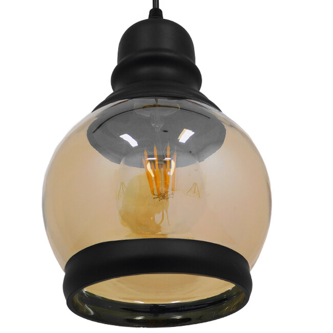 Vintage Κρεμαστό Φωτιστικό Οροφής Μονόφωτο Μαύρο Γυάλινο Μελί Διάφανο Φ16  OLIVER 01505 - 6