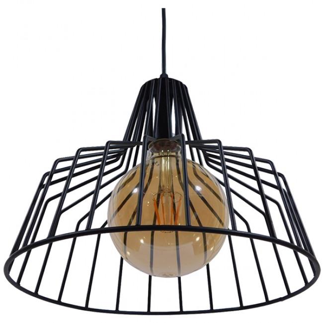 Vintage Industrial Κρεμαστό Φωτιστικό Οροφής Μονόφωτο Μαύρο Μεταλλικό Πλέγμα Καμπάνα Φ30 GloboStar TERE 01165 - 5