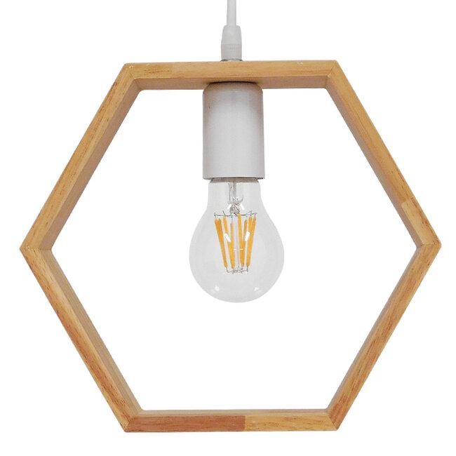 Μοντέρνο Κρεμαστό Φωτιστικό Οροφής Μονόφωτο Μπεζ Ξύλινο Δρυς  ELISE OCTANGLE 01429 - 3