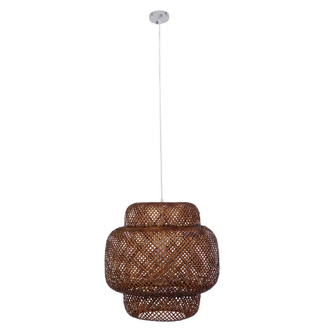 Vintage Κρεμαστό Φωτιστικό Οροφής Μονόφωτο Καφέ Σκούρο Ξύλινο Bamboo Φ56  MALVIDES DARK BROWN 01658 - 3