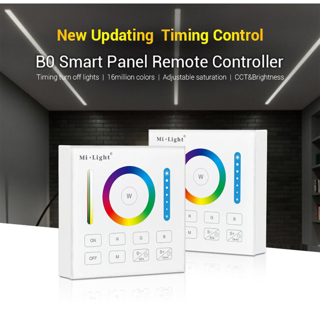 73425 Mi-Light B0 LED RGBW+WW+CCT Smart Ασύρματο Χειριστήριο Αφής 2.4G RF Φορητό/Τοίχου με Μπαταρία για όλα τα Mi-Light Controller Box - 7