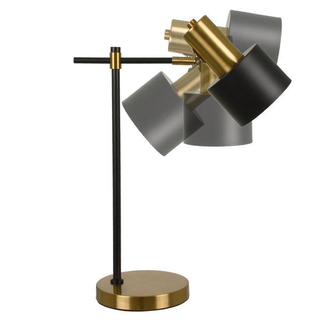 LETO 00835 Μοντέρνο Επιτραπέζιο Φωτιστικό Γραφείου Μονόφωτο Μεταλλικό Μαύρο Χρυσό Φ12.5 x Μ18 x Π18 x Υ50.5cm - 5