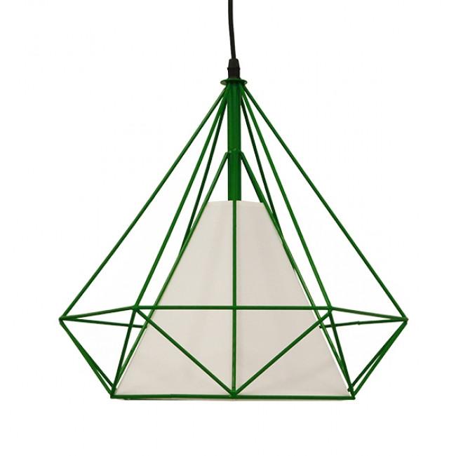 Μοντέρνο Industrial Κρεμαστό Φωτιστικό Οροφής Μονόφωτο Πράσινο με Άσπρο Ύφασμα Μεταλλικό Πλέγμα Φ38  KAIRI GREEN 01622 - 3