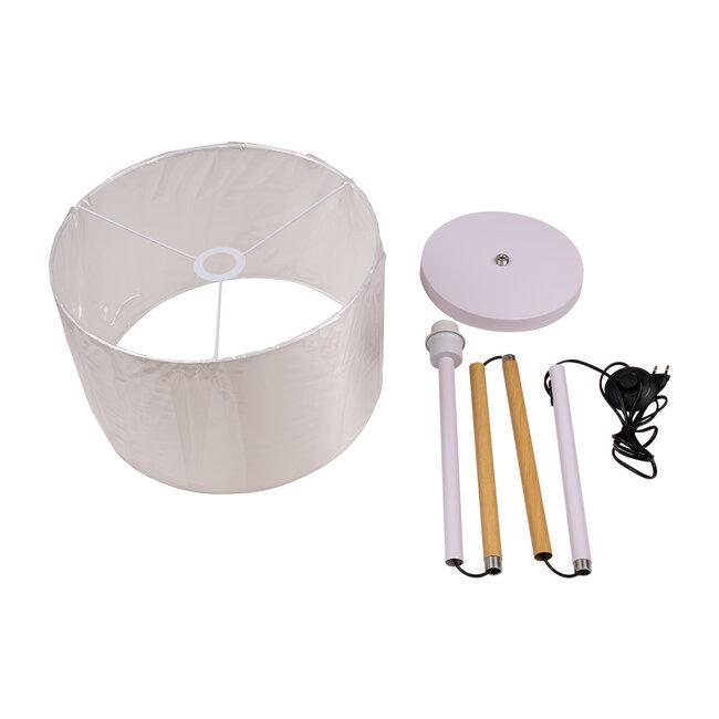 ASHLEY 00826 Μοντέρνο Φωτιστικό Δαπέδου Μονόφωτο Μεταλλικό Λευκό με Καπέλο και Ξύλινη Λεπτομέρεια Φ40 x Υ145cm - 9