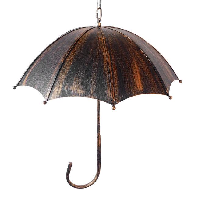 Vintage Industrial Κρεμαστό Φωτιστικό Οροφής Πολύφωτο Μαύρο Καφέ Σκουριά Μεταλλικό Φ58  UMBRELLA BLACK 01406 - 6
