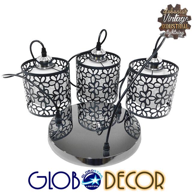Μοντέρνο Κρεμαστό Φωτιστικό Οροφής Τρίφωτο Μαύρο Μεταλλικό Πλέγμα με Λευκό Γυαλί Φ40 GloboStar RAINELDA 01246 - 5