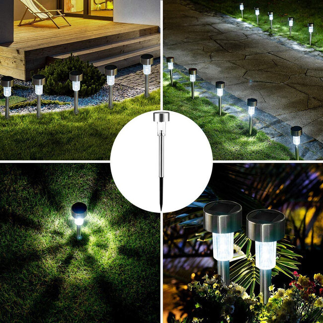 71520-10 ΣΕΤ 10 Τεμαχίων Αυτόνομα Ηλιακά Φωτιστικά LED SMD 1W 100lm με Ενσωματωμένη Μπαταρία 600mAh - Φωτοβολταϊκό Πάνελ με Αισθητήρα Ημέρας-Νύχτας Αδιάβροχο IP65 Φανάρι Κήπου Στρογγυλό Ψυχρό Λευκό 6000K - 6