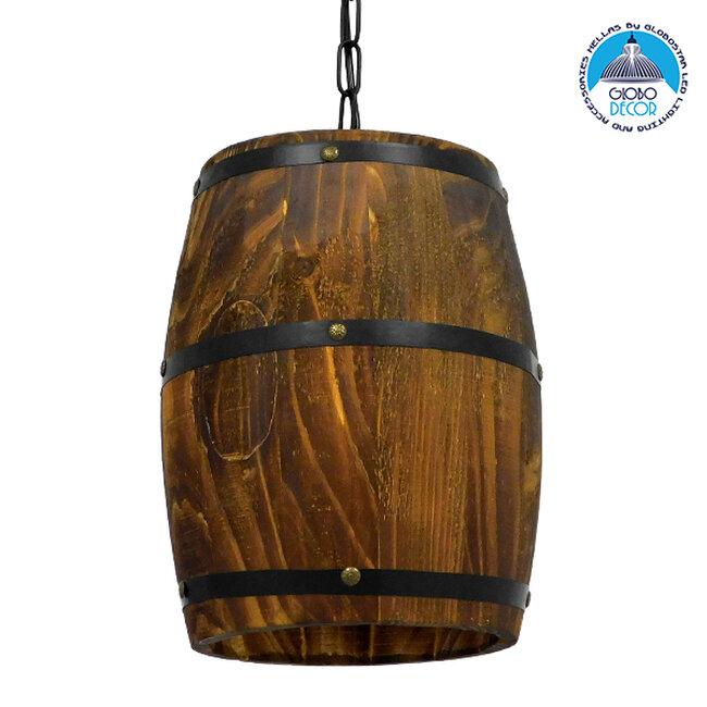 Vintage Κρεμαστό Φωτιστικό Οροφής Μονόφωτο Καφέ Σκούρο Φυσικό Ξύλινο Ø22xY29cm  BARREL 00890 - 1