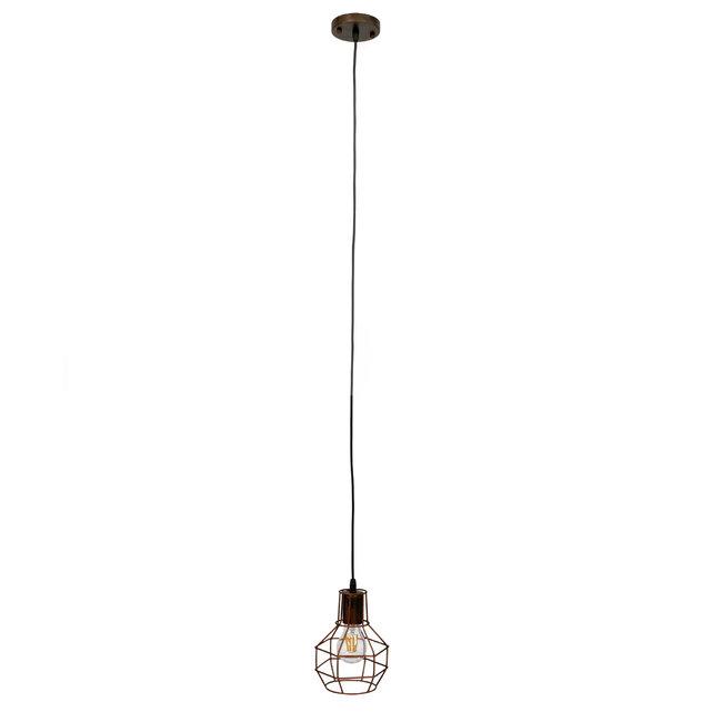 GloboStar® CAGE 00866 Vintage Industrial Κρεμαστό Φωτιστικό Οροφής Μονόφωτο Καφέ Σκουριά Μεταλλικό Πλέγμα Φ15 x Y22cm - 4