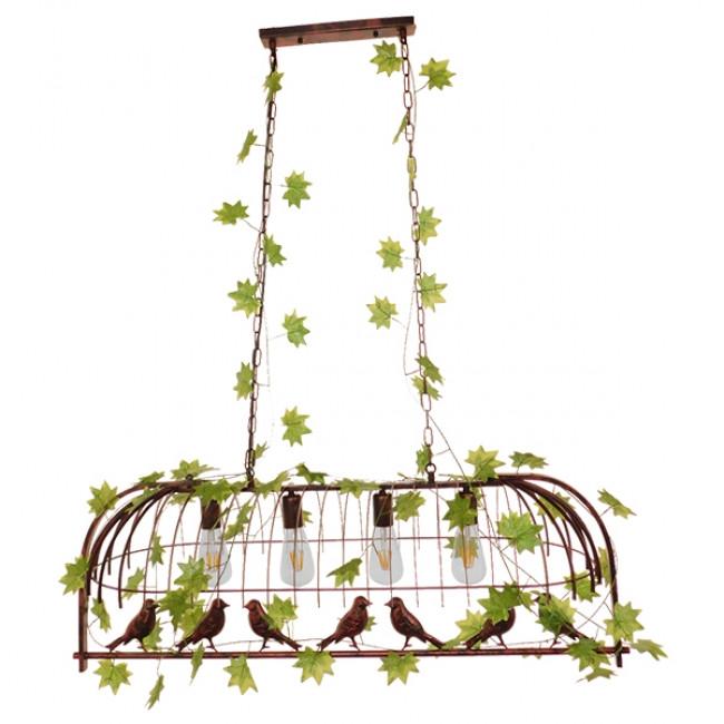 Vintage Industrial Κρεμαστό Φωτιστικό Οροφής Πολύφωτο Καφέ Σκουριά Μεταλλικό Πλέγμα  SANCTUM 01402 - 3