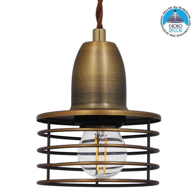 Μοντέρνο Industrial Κρεμαστό Φωτιστικό Οροφής Μονόφωτο Μεταλλικό Χρυσό Καμπάνα Φ11  MANHATTAN GOLD 01454 - 1