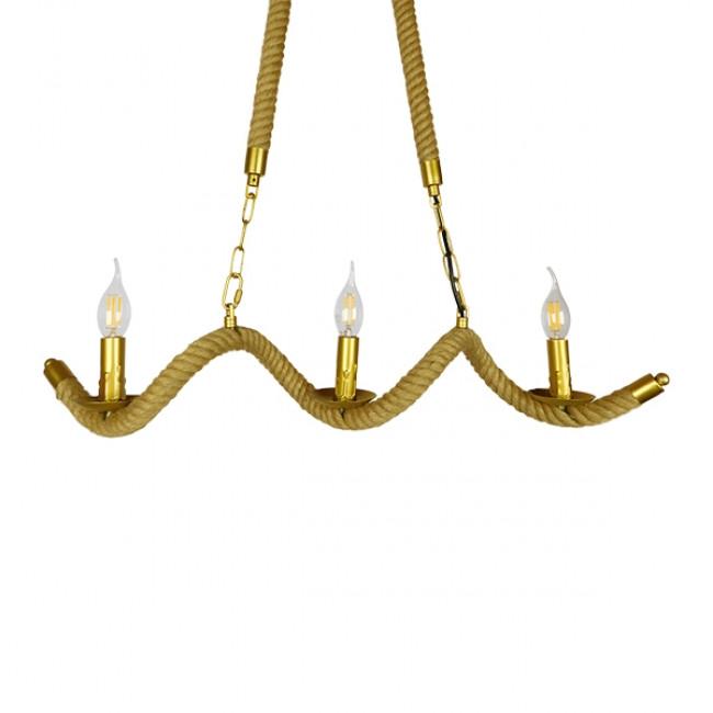 Vintage Κρεμαστό Φωτιστικό Οροφής Τρίφωτο Χρυσό Μεταλλικό με Μπεζ Σχοινί GloboStar LUXOR 01598 - 2