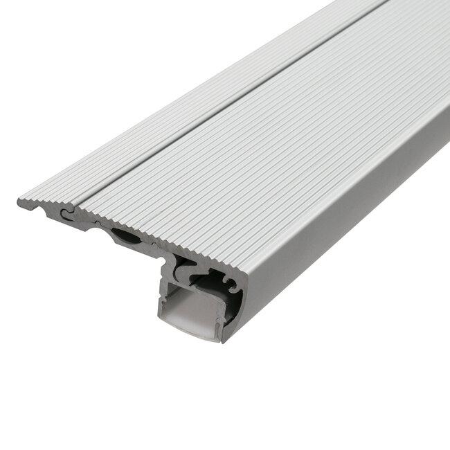 GloboStar® 70823-1M Προφίλ Αλουμινίου για Σκαλοπάτια Ανοδιωμένο με Λευκό Οπάλ Κάλυμμα για 1 Σειρά Ταινίας LED Πατητό - Press On - 6