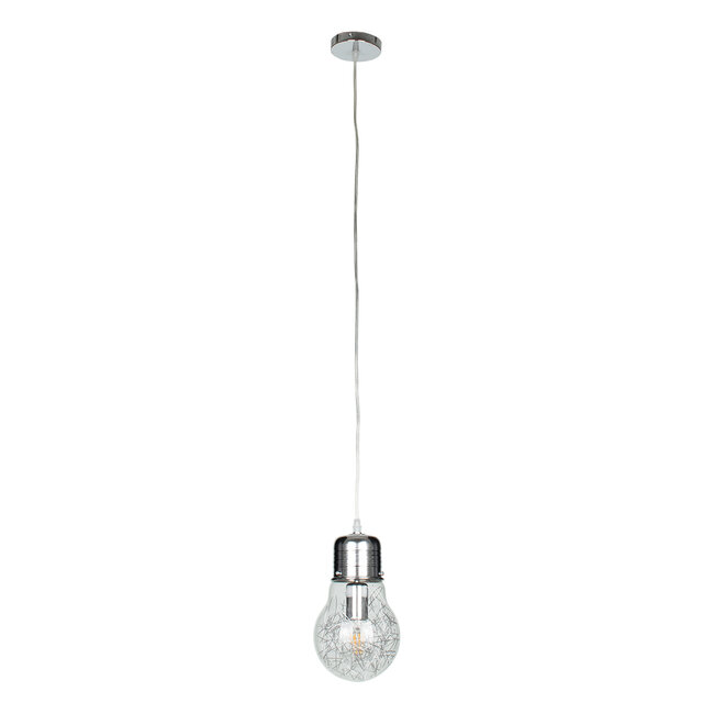 LAMP 01676 Μοντέρνο Κρεμαστό Φωτιστικό Οροφής Μονόφωτο Ασημί Νίκελ Μεταλλικό Διάφανο Γυαλί Φ15 x Υ27cm - 4