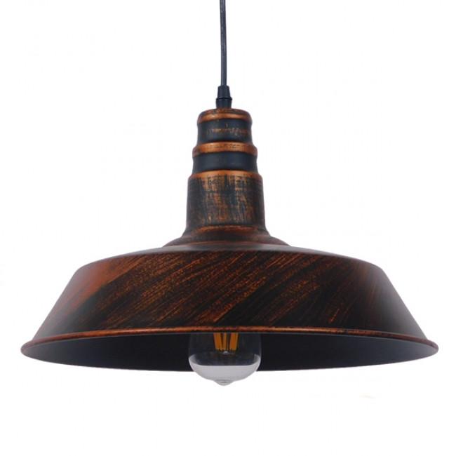 Vintage Industrial Κρεμαστό Φωτιστικό Οροφής Μονόφωτο Καφέ Σκουριά Μεταλλικό Καμπάνα Φ36 GloboStar RAY IRON RUST 01046