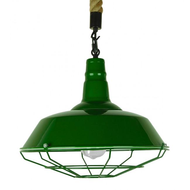 Vintage Industrial Κρεμαστό Φωτιστικό Οροφής Μονόφωτο Πράσινο Λευκό Μεταλλικό Καμπάνα Πλέγμα με Μπεζ Σχοινί Φ36 GloboStar ELEDA 01408 - 3