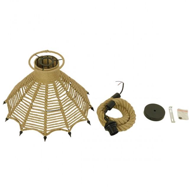 Vintage Κρεμαστό Φωτιστικό Οροφής Μονόφωτο Μπεζ Καμπάνα με Σχοινί Φ41  OZERO 01603 - 9