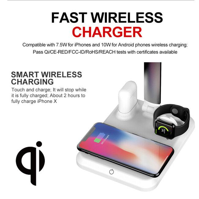 86101 CHATEAU Μοντέρνο Φωτιστικό Γραφείου Λευκό LED 10 Watt 1000lm DC 5V Αφής & Καλώδιο Τροφοδοσίας USB με Ασύρματη Φόρτιση - Wireless Charger για Τηλέφωνα και Earphones Φυσικό Λευκό 4500K - 7