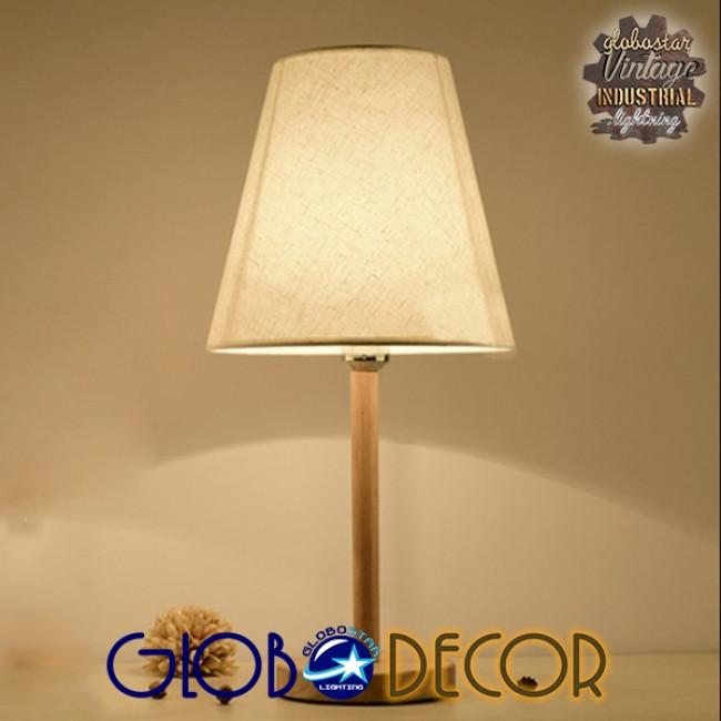 Μοντέρνο Επιτραπέζιο Φωτιστικό Πορτατίφ Μονόφωτο Ξύλινο με Λευκό Καπέλο Φ21 GloboStar NAPHIE 01208 - 9