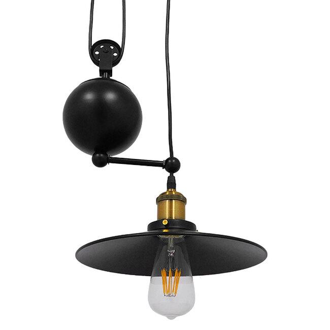 Vintage Industrial Κρεμαστό Φωτιστικό Οροφής Δίφωτο Μαύρο Μεταλλικό με Ρυθμιζόμενη Ανάρτηση  SCALES 01550 - 6