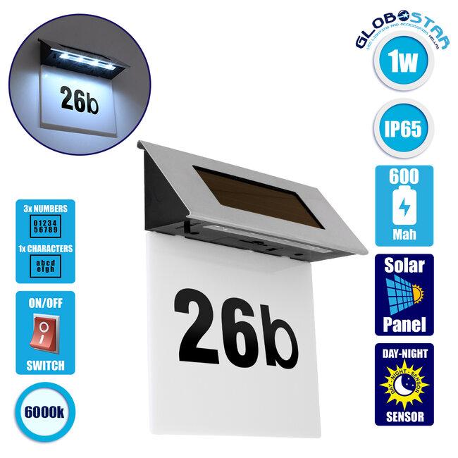 71485 Αυτόνομο Ηλιακό Φωτιστικό LED SMD 1W 100lm με Ενσωματωμένη Μπαταρία 600mAh - Φωτοβολταϊκό Πάνελ με Αισθητήρα Ημέρας-Νύχτας για Αρίθμηση Διεύθυνσης Δρόμου Αδιάβροχο IP65 Ψυχρό Λευκό 6000K - 1