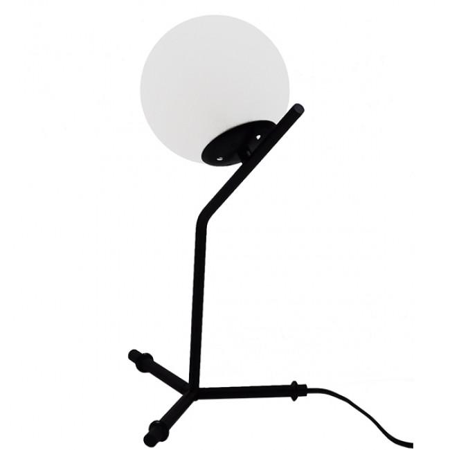 Μοντέρνο Επιτραπέζιο Φωτιστικό Πορτατίφ Μονόφωτο Μαύρο Μεταλλικό με Λευκό Γυαλί Φ23 GloboStar ELFRIS 01100 - 6