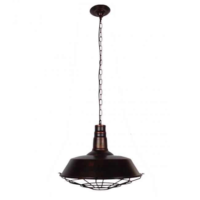 Vintage Industrial Κρεμαστό Φωτιστικό Οροφής Μονόφωτο Καφέ Σκουριά Μεταλλικό Καμπάνα Φ46 GloboStar BARN IRON RUST 01045 - 2
