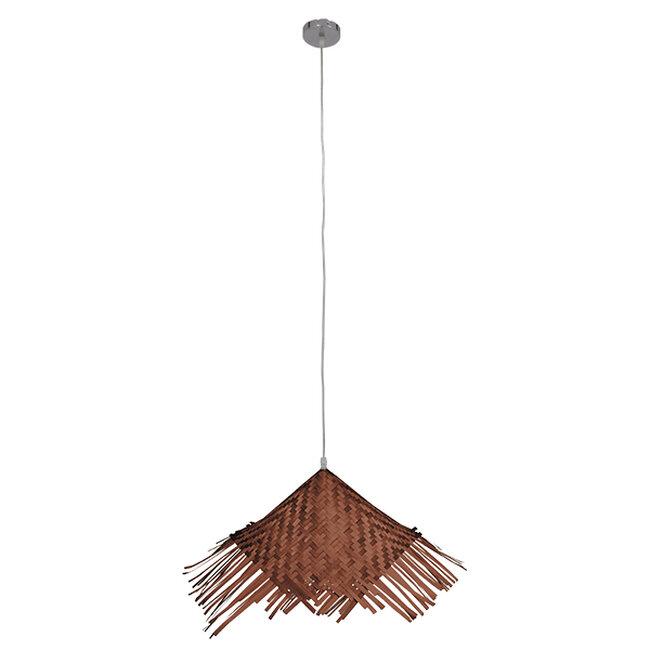 Vintage Κρεμαστό Φωτιστικό Οροφής Μονόφωτο Καφέ Σκούρο Ξύλινο Ψάθινο Rattan Φ70  RICEHAT 01667 - 2