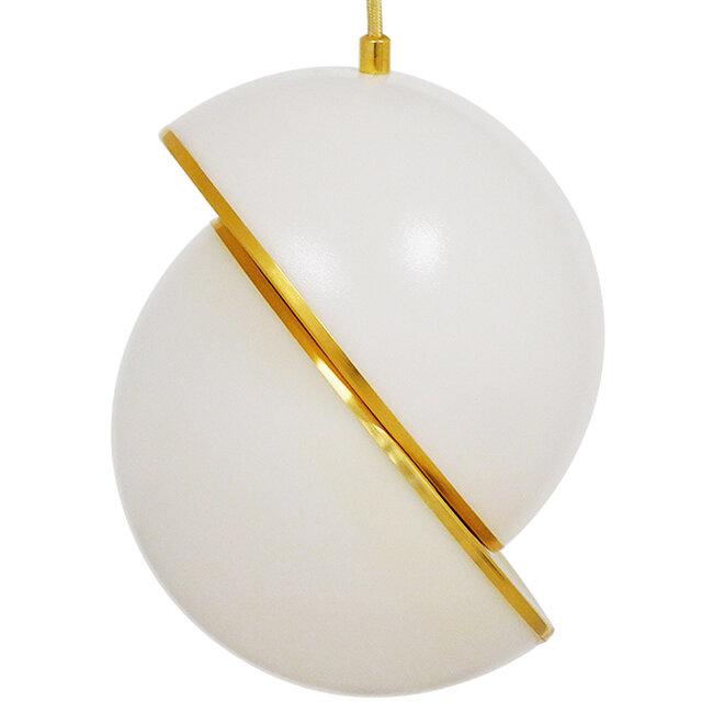 Μοντέρνο Κρεμαστό Φωτιστικό Οροφής Μονόφωτο Λευκό με Χρυσό Φ20  HUDSON 01554 - 3
