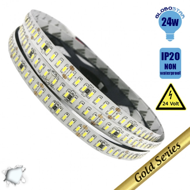 Ταινία LED Λευκή Professional Series 5m 24W/m 24V 240LED/m 3014 SMD 3360lm/m 120° IP20 Ψυχρό Λευκό 6000k GloboStar 63019 - 1