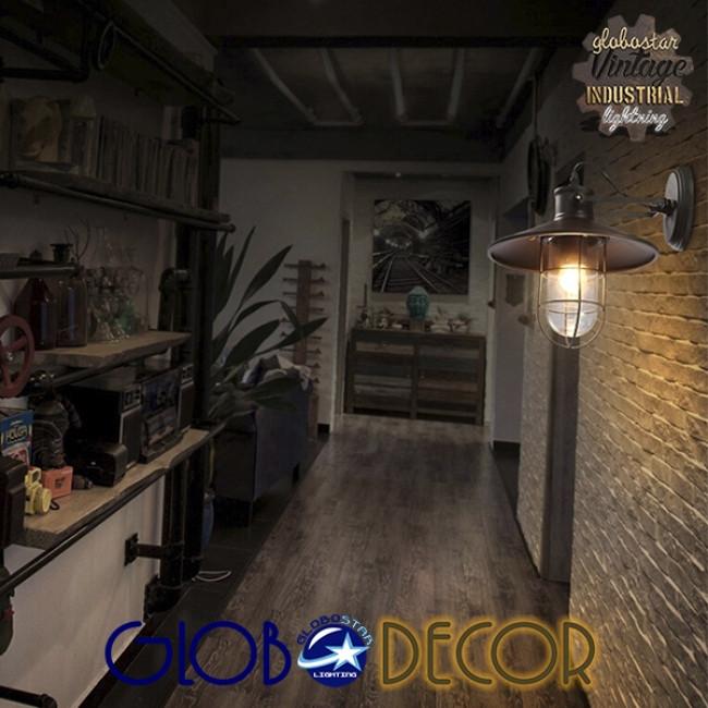 Vintage Industrial Φωτιστικό Τοίχου Απλίκα Μονόφωτο Μαύρο Μεταλλικό Πλέγμα με Καμπάνα Φ27 GloboStar CELL 01118 - 10